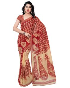 Casual red colour printed georgette saree