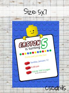 Lego Birthday Party Invitation Digital Copy Only by CScardsShop, $12.00