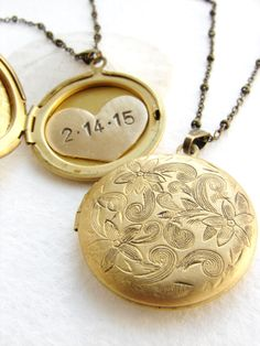 Personalized jewelry, wedding date necklace, Custom Date necklace, Valentine's gift, bridal jewelry, Personalized Heart locket pendant by soradesigns on Etsy https://www.etsy.com/listing/205740563/personalized-jewelry-wedding-date