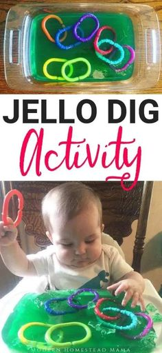 Jello Dig Activity For Babies & Toddlers (Jello Sensory Play)You can find Baby play and more on our website.Jello Dig Activity For Babies & Toddlers (Jello Sensory Play) Toddler Play, Toddler Learning, Infant Play, Infant Room, Toddler Games, Infant Toddler, Baby Lernen, Baby Sensory Play, Diy Sensory Toys For Babies