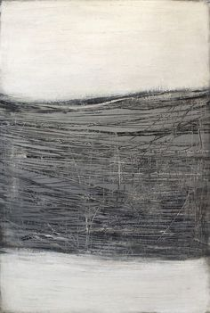 Karine Leger - Interesting use of scratching and scraping and monochromatic color space. Black And White Painting, White Art, Contemporary Abstract Art, Abstract Landscape, Art Blanc, Encaustic Art, Abstract Drawings, Art Plastique, Abstract Expressionism