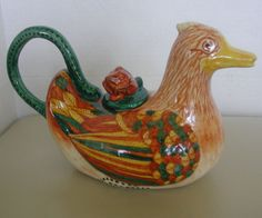 PORTUGAL DUCK figural pottery teapot