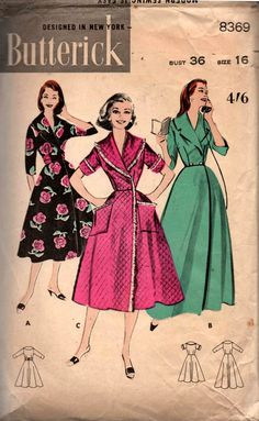 7d6ae5fa24 Butterick 8369 Womens Retro Robe   Brunchcoat Vintage Sewing Pattern Size  16 Bust 36 inches