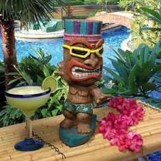 Improve the look of your patio with Design Toscano Kahuna Tiki Surfer Dude Statue. Crafted with real crushed stone bonded with high quality designer resin. Tiki Statues, Gnome Statues, Garden Statues, Tiki Head, Tiki Art, Tiki Tiki, Babysitting Activities, Summer Activities, Flower Pot People