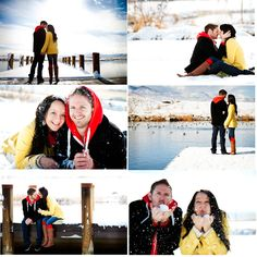winter engagement photoshoot... wear bright colors to pop out from the snow.