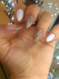 Bio Sculpture gel stiletto glitter nails #beautynails #stilettonails