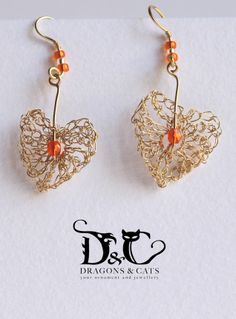 Hanging hearts (crochet wire earrings) for ordering please PM at https://www.facebook.com/dragons.and.cats?ref=hl