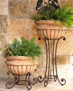 Tuscan design – Mediterranean Home Decor Patio Pergola, Outdoor Planters, Garden Planters, Garden Art, Outdoor Decor, Porch Planter, Backyard Plants, Wall Planters, Concrete Planters