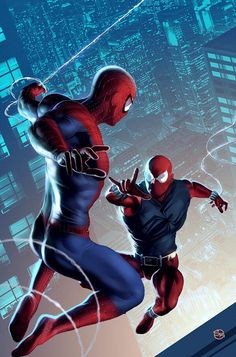 Spiderman and Scarlet Spider Marvel Comics, Marvel Heroes, Marvel Art, Marvel Avengers, Spiderman Art, Amazing Spiderman, Comic Book Heroes, Comic Books Art, Comic Art