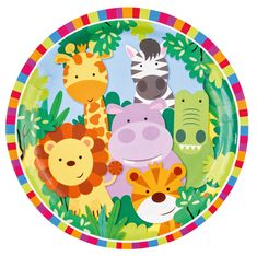 Jungle Friends Paper Party Plates - Jungle Friends - Party Themes A-Z - Kids' Party Party Animals, Balloon Animals, Jungle Animals, Animal Party, Safari Party, Jungle Party, Jungle Safari, Girls Party Decorations, Kids Party Themes