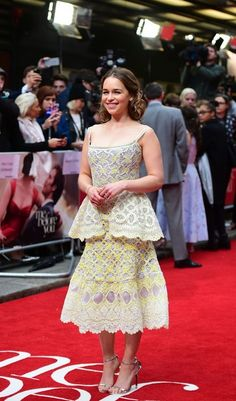 Emilia Clarke Embroidered Dress - Emilia Clarke was a sophisticated beauty in a pale yellow Ulyana Sergeenko dress with embroidered details while posing on the red carpet at the 'Me Before You' premiere in London.