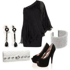 Great holiday look:-) Dress Up Outfits, Fashion Outfits, Women's Fashion, All Black Outfit, Black Outfits, Cool Style, My Style, Glamour, Holiday Looks