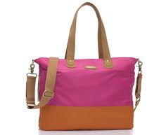 A perfect carry-all for baby gear, gym clothes, work stuff - you name it! Storksak tote bag in orange/fuchsia.