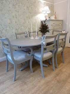 painted vintage dining table and chairs set by my little vintage attic   notonthehighstreet.com