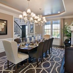 Loving the look of two chandeliers in a dining room lately. Chandeliers by @progressltg