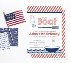 Row Your Boat First Birthday Invitation