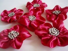 Handmade Fushia Ribbon Flower Appliques by BizimSupplies on Etsy, $9.00