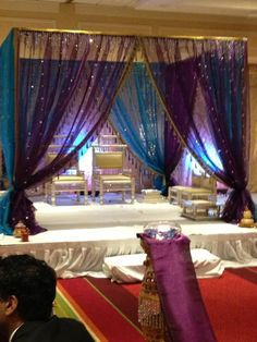 in wedding arch, indian wedding mandap, natural mandap Hindu wedding ceremony- I love how the curtain colors work together! (on a side note, Hindu weddings are amazing) Hindu Wedding Ceremony, Wedding Mandap, Desi Wedding, Wedding Stage, Hindu Weddings, Indian Weddings, Big Fat Indian Wedding, South Asian Wedding, Mehndi Decor