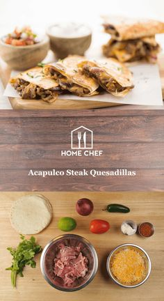 Acapulco Steak Quesadillas with cheddar-jack cheese and red onion Cheese Quesadilla Recipe, Steak Quesadilla, Quesadillas, Hamburgers, Easy Dinner Recipes, Great Recipes, Delicious Recipes, Dinner Ideas, Yummy Food