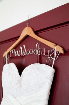 custom hanger.... we were surprised with these on our wedding day! :D