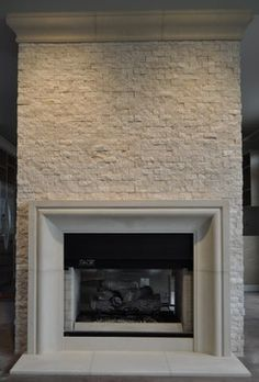 white and gray stacked stone fireplace Stacked Stone White Grey