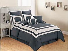 Amazon.com - 8 Piece Grey White Stripe Faux Silk Comforter set Full (Double) size -