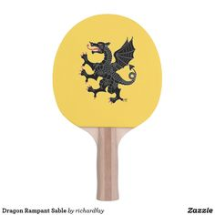 SOLD 7/13/2017 through Zazzle (via a 3rd party) to a customer in Overland Park, KS: one Dragon Rampant Sable Ping Pong Paddle.  #Zazzle #ping_pong_paddle #dragon #black_dragon #heraldic_dragon #dragon_sable #dragon_rampant #dragon_rampant_sable