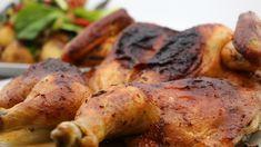 Le poulet est bien doré. Chicken Recipes, Bbq, Potatoes, Vegetables, Canada, Food, Marina Orsini, Chefs, Drink