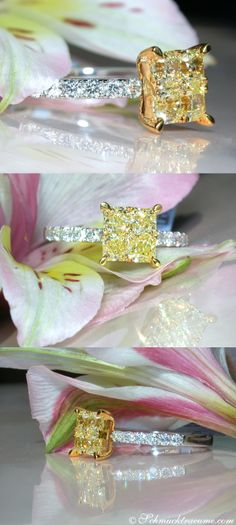 A little bit extraordinary: Yellow & White Diamond Engagement cts… Canary Diamond, White Diamond Ring, Colored Diamonds, Yellow Diamonds, Pink Sapphire, Ring Verlobung, Solitaire Ring, Bling, Love Ring