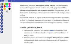 Kami es una utilidad web gratuita para la edición de documentos PDF. Podemos insertar texto, subrayar, dibujar, añadir comentarios y mucho más.
