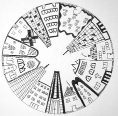 drawing houses step by step \ drawing house ` drawing house plans ` drawing house for kids ` drawing house architecture ` drawing houses step by step ` drawing house illustration ` drawing house easy ` drawing house simple Circle Drawing, City Drawing, Drawing Step, House Drawing, Arte Elemental, 7th Grade Art, Mosaic Artwork, Perspective Art, School Art Projects