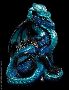 Male Dragon - Blue Morpho Airbrushed and hand painted fantasy dragon figurine, statue $170.00 #dragon #fantasy #collectables