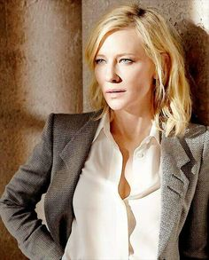 Cate Blanchett. I love this coat and scarf...and she even looks good ...  Cate Blanchett