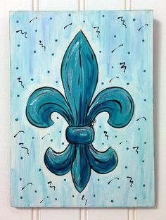 Teal+Taffy+Fleur+de+Lis+acrylic+painting+by+SMFCreativeArt+on+Etsy,+$25.00