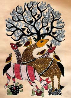 gond painting is an old indian tribal art .these painting are basically based on the wildlife and the beauty that the nature carries with each and every living being. Kerala Mural Painting, Madhubani Painting, Indian Art Paintings, Animal Paintings, Kalamkari Painting, Madhubani Art, Indian Folk Art, Mural Art, Tribal Art