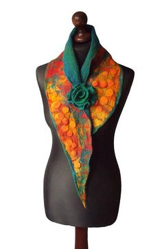 Nuno Felted Collar Colorful Felt Scarf Art to wear Yellow Red Green Christmas Gift Collar with Felted Flower Brooch Neck Warmer Shawl OOAK. Nuno felted collar/ scarf made from finest Australian merino wool and hand dyed silk fabric. Handmade nuno felt technique. Collar with felted