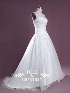 Feist-White Organza Sweetheart Beaded Sleeveless Wedding Dress 1
