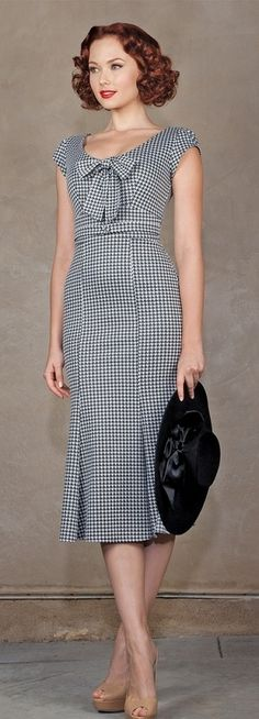 awesome STOP STARING 40s GRAND HOUNDSTOOTH Bombshell Fitted Pencil Dress USA Made S New