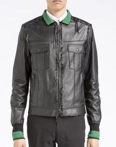 Men  LANVIN -Lace leather jacket