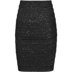 Reiss Lindsey Metallic Bandage Skirt, Black/Silver (630 PEN) ❤ liked on Polyvore featuring skirts, black bandage skirt, metallic skirt, bodycon skirt, silver skirt and body con skirt