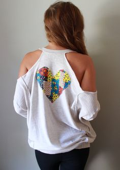 Beige Knit Oversized Patchwork Heart Cut by MountainGirlClothing///LOVE the style...just minus the heart