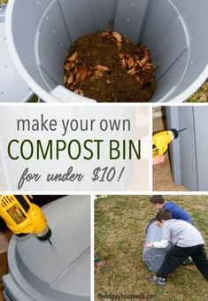 Gardening For Beginners, Gardening Tips, Making A Compost Bin, Diy Compost Bin, How To Compost, How To Start Composting, Compost Tumbler, Homemade Compost Bin, Compost