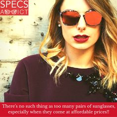 """Because you can never have """"Too many pairs of #sunglasses""""! Take a look at the latest #sunnies at great prices only in #specsaddict #eyewear #stealhherstyle #trending #latest #fashion #timeless #classic #elegant #style #men #women #kids #UAE #dubai #qatar #bahrain #saudiarabia #love #lovespecs"""