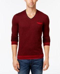 Hugo Boss Orange Men's Kerpen Stripe V-Neck Sweater  - Red XXL