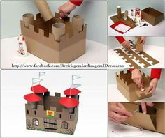 DIY Cardboard Castle for office supply storage - for marshmallow catapult Kids Crafts, Projects For Kids, Diy For Kids, Arts And Crafts, Paper Crafts, Project Ideas, Art Projects, Cardboard Castle, Cardboard Toys