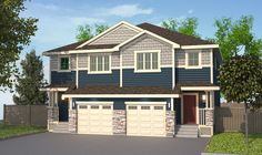 Featured Exterior Colors: Wedgewood/ Linen with Gray trim. Gray Trim, Double Garage, Stony, Semi Detached, Exterior Colors, New Homes, Floor Plans, Flooring, Outdoor Decor