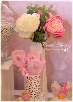 Flowers at a pink princess birthday party! See more party ideas at CatchMyParty.com!