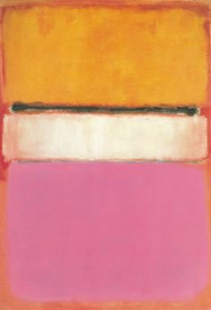 White Center (Yellow, Pink and Lavender on Rose) is part of Mark Rothko's signature multiform style: several blocks of layered, complementary colors on a large canvas.