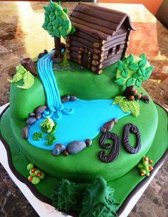 cabin and lake cake. Love the ferns! Fondant Cakes, Cupcake Cakes, Waterfall Cake, Nature Cake, Rodjendanske Torte, Camping Cakes, Farm Cake, Garden Cakes, House Cake
