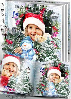 Christmas Photo book psd template   Christmas clusters psd for design - Merry Christmas!
